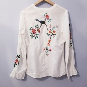 Tops - Embroidered Cotton Botton Down S